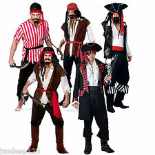 Pirate Mens Fancy Dress Costume Caribbean Captain Jack High Seas Outfit Designs