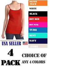 NWT 4 PACK Women's Ladies Solid Poly Cami Camisol Tank Top Assorted Colors