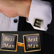 Best Man Letters 18K Gold/Platinum Plated Mens Shirt Cufflinks Father's Day Gift