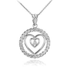 Sterling Silver Roped Circle Double Heart with CZ Pendant Necklace
