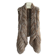 Women Thick Coat 100% Real Genuine Knitted Rabbit Fur Hook Vest Free Size V0110