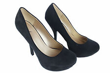 Qupid Sexy High Heel Pump Round Toe Comfy Party Shoes Dressy Nubuck Black