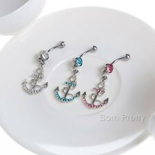 Rhinestone Anchor Dangle Button Belly Navel Ring Bar Body Piercing 3 Colors