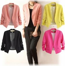 Sexy Womens Candy Color Stylish Casual Short Slim Suit Jacket Blazer Top Outwear