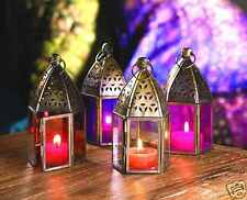 INDIAN MOROCCAN HANGING COLOURED GLASS LANTERN TEA LIGHT HOLDER MINI IRON HOME