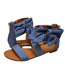 Women's Shoes Bamboo Candice 63M Strappy Bow Gladiator Sandal Blue Denim *New*