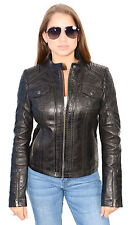 Womens Black Leather Mandarin Collar Scuba Jacket W Quilted Shoulders