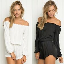 2016 New Summer Sexy Off Shoulder Tunic Casual Beach Plus Short Jumpsuit Rompers