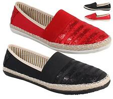 Ladies Flats Womens Espadrilles Girls Slip On Pumps Canvas Plimsoles Shoes Size