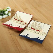 3D Pop Up Greeting Card Sailboat Good Luck Friendship Birthday Thank Souvenir