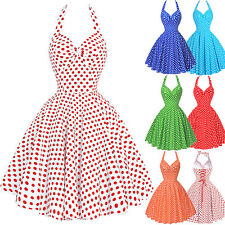 Women Halter Vintage Retro Polka Dots Cocktail Party Housewife Pinup Swing Dress