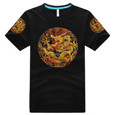 ORIENTAL COOL! 100% COTTON CALICO T-SHIRT: CHINESE EMPEROR DRAGON ROBE STYLE