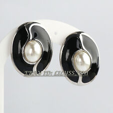 Fashion Black Glaze White Pearl Stud Earrings Clip-on 18KGP