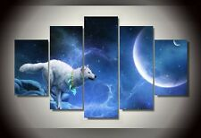 Frames picture magic white wolf fantasy world Canvas Wall art decor poster photo