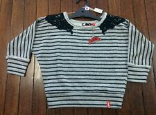 I Love The Veronicas Grey Striped Winter Girls Top Size 9 10 16