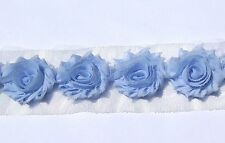 20 Blue or Navy small shabby chiffon flowers for millinery, hairclips and craft
