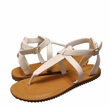 Women's Shoes Bamboo Hearten 41S Strappy T-Strap Lug Sole Sandal White *New*