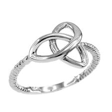 14k White Gold Ladies Woman`s Celtic Irish Trinity Triquetra knot Rope Ring