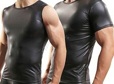 Mens Sexy Faux Leather Vest Sleeveless Tank Tops Undershirt Fetish Muscle Shirts