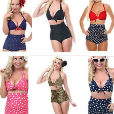 New Retro Sexy Swimsuit Swimwear High Waisted Vintage Push Up Bra Bikini Set