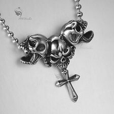Silver skulls cross pendant 316L stainless steel chain necklace
