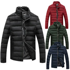 Mens Padded Jacket Cotton Coat Quilted Neck Zip Lined Casual Winter New Parka