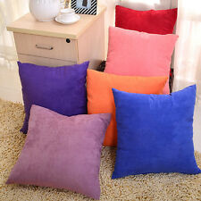 "Square Solid Suede Nap Cushion Cover Home Decor Bed Sofa Throw Pillow 18""x18"""