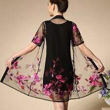 summer fashion temperament gorgeous Big yards embroidery vest two-piece dress
