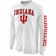 New Agenda Indiana Hoosiers White Distressed Arch & Logo Long Sleeve T-Shirt