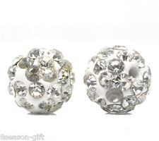 "Gift Wholesale White Pave Rhinestone Round Polymer Clay Ball Beads 10mm(3/8"")"