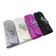 Elegant Pleated Satin Flap Crystal Floral Clutch Evening Bag - Diff Colors Avail