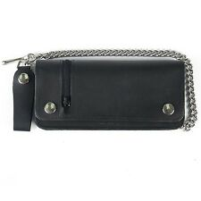 Biker Wallet with outside zip,Leather wallet with chain and coin compartment