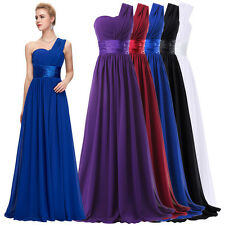 Formal New One Shoulder Long Evening Prom Party Bridesmaid Dress Maxi Ball Gown