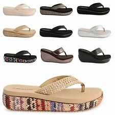 WOMENS LADIES DUNLOP WEDGE TOE POST SANDALS SUMMER FLIP FLOPS BEACH SHOES