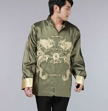 Green Chinese Men's silk Dragon Kung Fu Party Jacket/Coat Size: M L XL 2XL 3XL