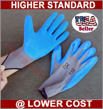 48 Pairs Nylon Work Gloves w/ Blue Latex Palm Finger Coating S, M, L, XL Sizes