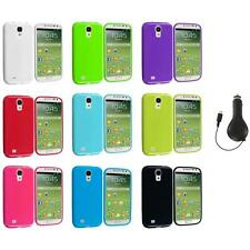 Color TPU Rubber Jelly Case Cover+RET Charger for Samsung Galaxy S4 SIV i9500