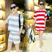 new Summer  fashion leisure T-shirt shorts Stripe loose  two-piece Sport suit