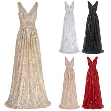 Ladies Sequin Long Bridesmaid Wedding Gown Dress Formal Party Evening Prom Dress