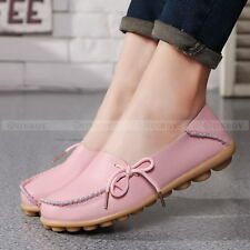 Womens Leather Casual Comfort Walking Bowed Flat Shoes Loafers Moccasin Slide