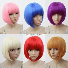 UK Seller Short BOB Full Head Wigs Cosplay Party Fancy Dress Costume Halloween