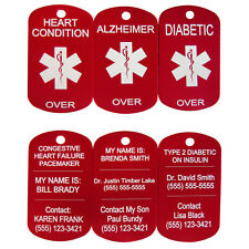Personalized Medical Alert ID Dog Tag Custom Laser Engraved Necklace / Key Chain