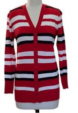 Tunic Striped Cardigan Sweater Red-Black