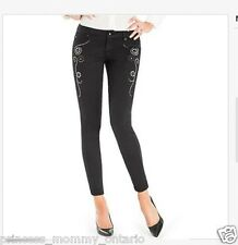 NWT $198 GUESS BY MARCIANO Black JEANS Skinny Embellished  Size 23 XS 0