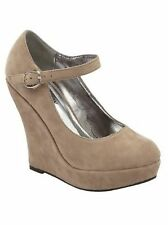 Delicacy Erika56 Mary Jane Pump Wedge Heel Suede Round Toe One Strap Shoes Taupe