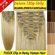 AMAZING Double Weft Thick Full Head 100% Remy Human Hair Clip in Extensions U046