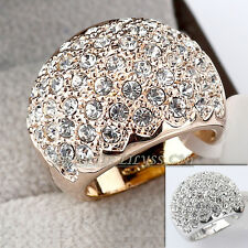 Fashion Band Ring 18KGP use CZ Rhinestone Crystal Size 5.5-9