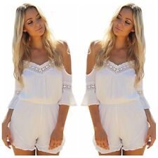 Sexy white Strapless V-Neck Horn cuff Playsuit Women Jumpsuit Romper Trousers