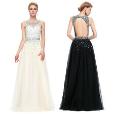 Sexy Long Maxi Beaded Dress Prom Gown Party Evening Formal Cocktail Bridesmaid