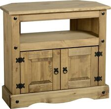 Corona Corner TV Stand 2 Door Pine Television Unit Mexican Solid Wood